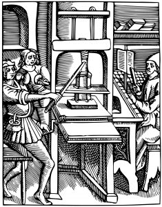Period line drawing of workers at a printing press.