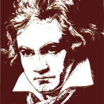 Black and white head-and-shoulders line drawing of the composer, Ludwig van Beethoven.