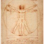 Line-drawn artwork on yellowed paper: Leonardo Da Vinci's Vitruvian Man