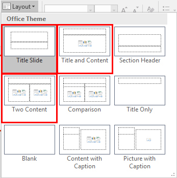 MS PowerPoint - examples of slide layout