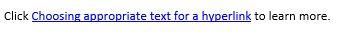 MS Word Hyperlink example