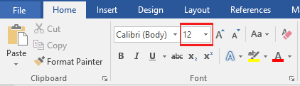 MS Word Home Tab - Font Size