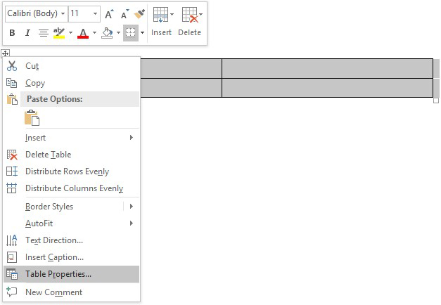 Drop-down options menu from right-clicking table