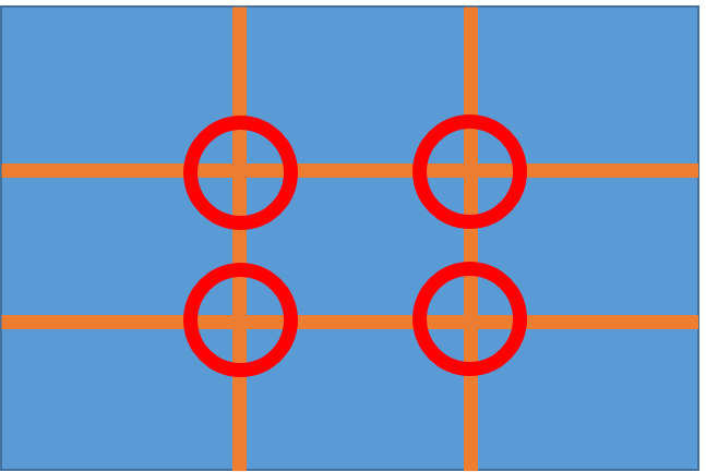 Rule of thirds grid with intersections highlighted by circles
