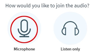 Microphone options: Mic on or Listen Only