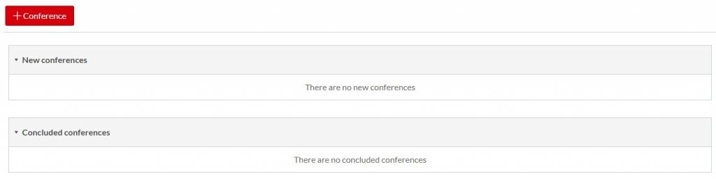 Conferences screen to add new conferences or conclude existing conferences