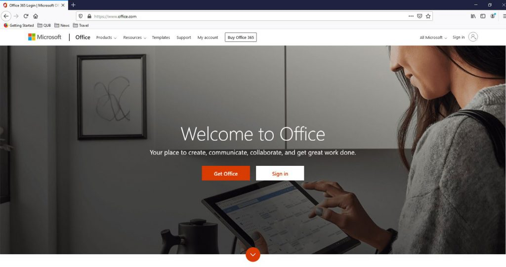 office 365 sign in screen