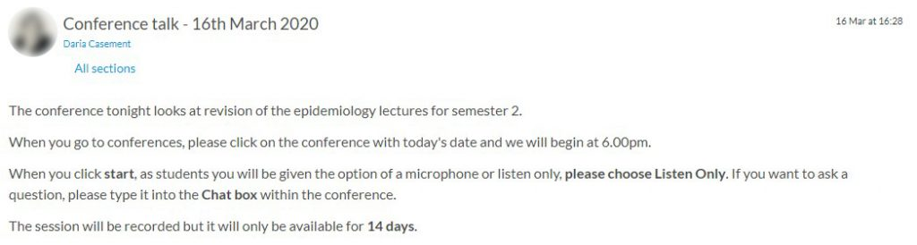 Example announcement set to notify students of when conference will occur
