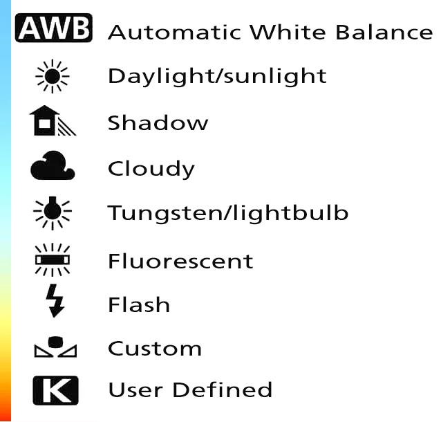 White balance symbols