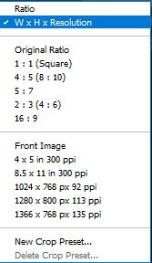 Crop dimensions