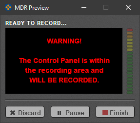 """Screenshot of Mediasite Desktop Recorder's video preview and control panel, displaying: """"Warning! The control panel is within the recording area and will be recorded."""""""
