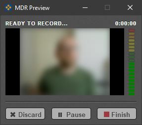 Screenshot of Mediasite Desktop Recorder's video preview and control panel.