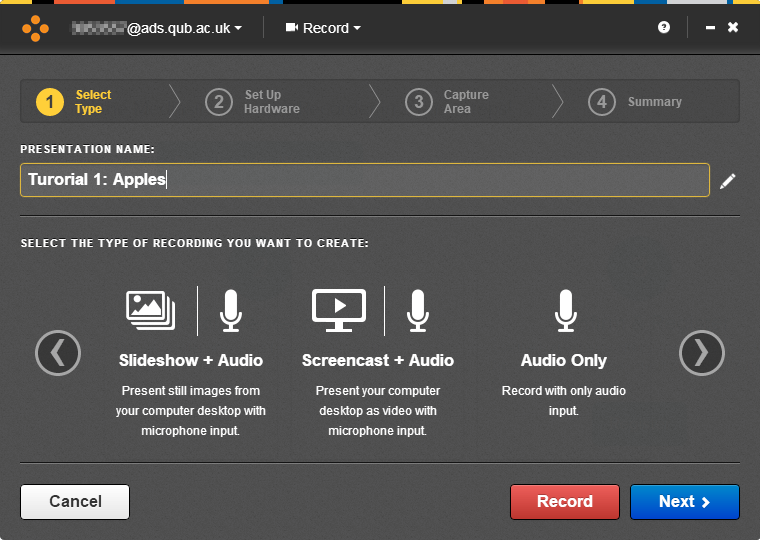 Mediasite Desktop Recorder, Record section. Presentation name is filled in, and a selection of options is available for recording.