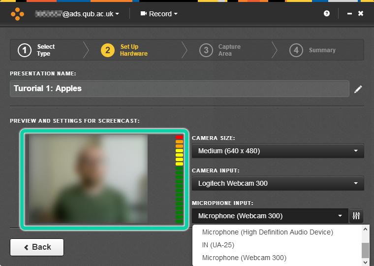 Screenshot of Mediasite Desktop Recorder, camera and microphone selection screen.