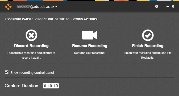 Screenshot of Mediasite Desktop Recorder pause screen, showing options to discard, resume, or finish recording, as well as a toggle to turn on the control panel and a display of the current length of recording.