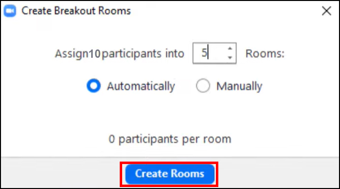 Zoom - Create breakout rooms