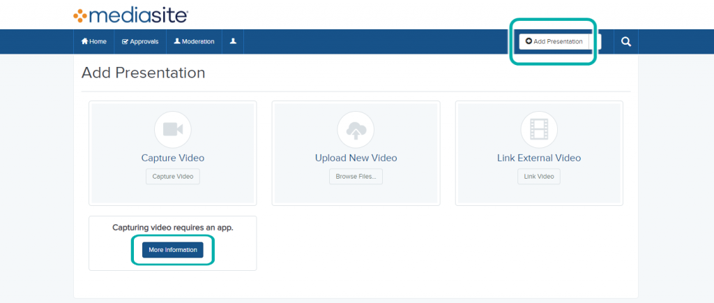 """Screenshot of the Mediasite portal, """"Add Presentation"""" page, with the """"Add Presentation"""" and """"More Information"""" buttons highlighted."""