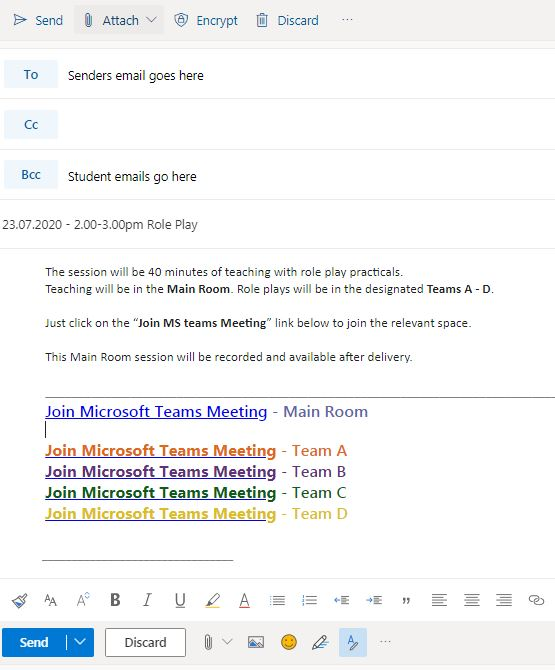 Using Outlook to send Team Invites for live-teaching