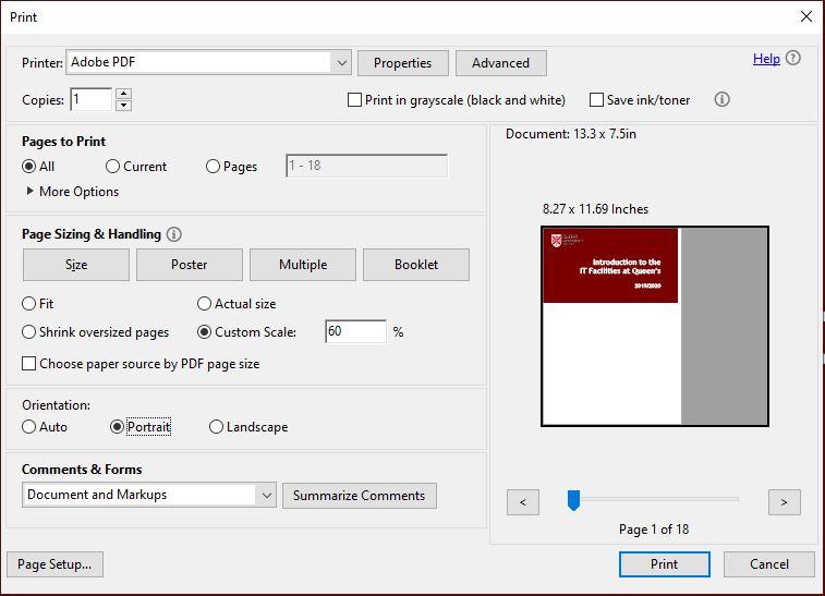 Using Adobe Acrobat Reader's print to PDF