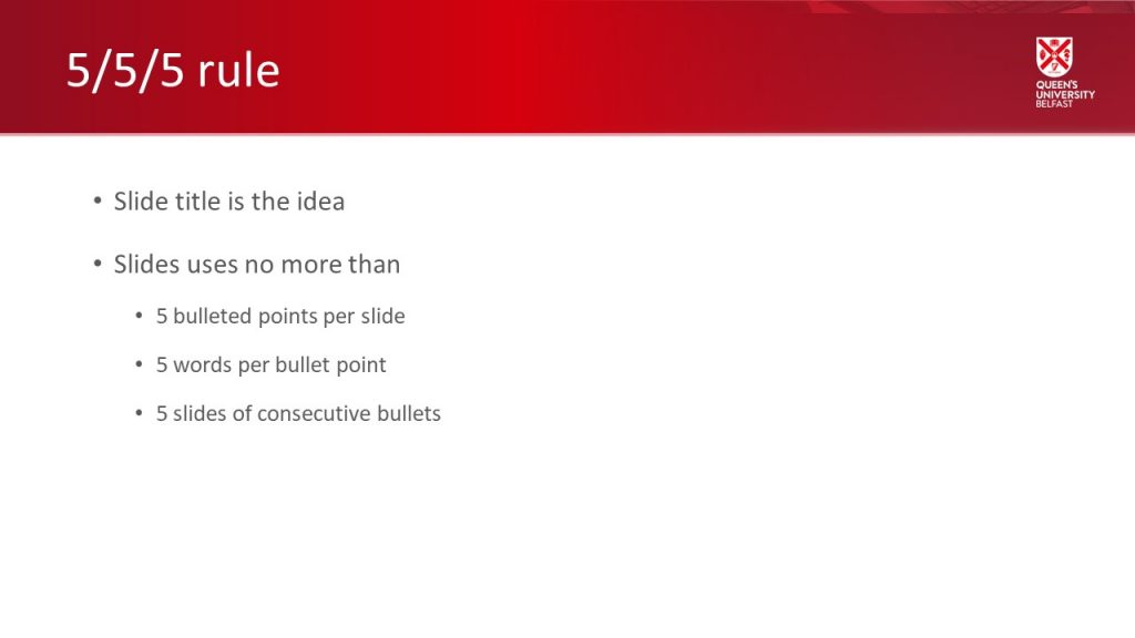 Example of 5/5/5 rule in PowerPoint