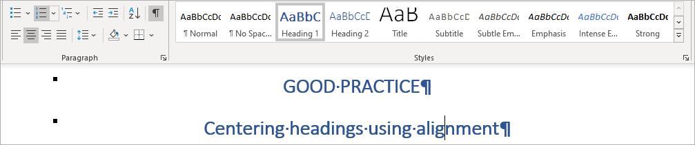 MS Word - Heading styles