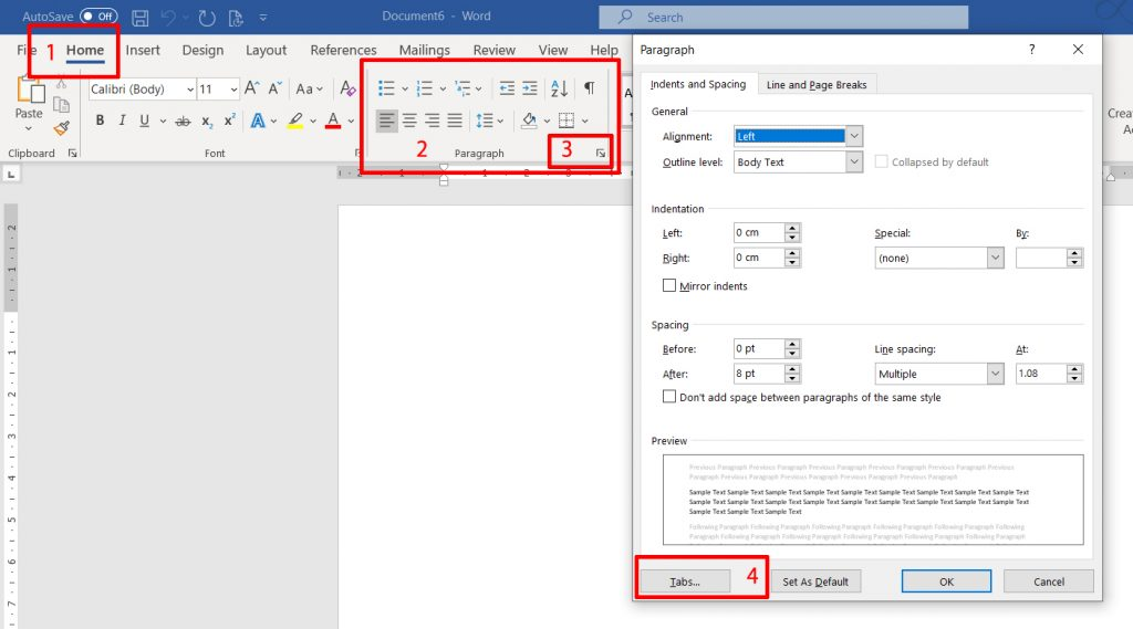 MS Word - accessing the tabs dialogue box