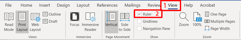 MS Word - displaying the ruler