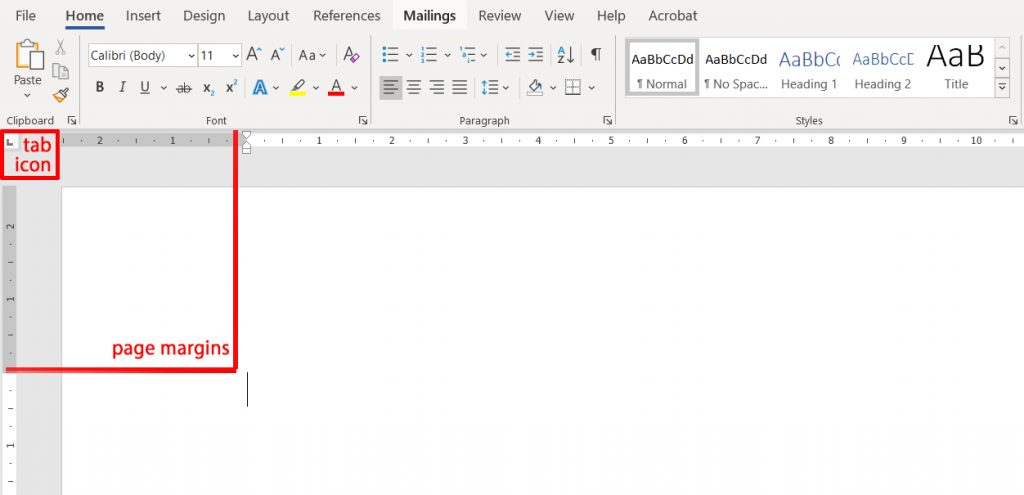 MS Word - the tab icons live on the left hand side of the ruler
