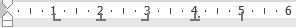 MS Word tab characters - left (1cm), centre (2cm), right (3cm), decimal (4cm) and bar (5cm)