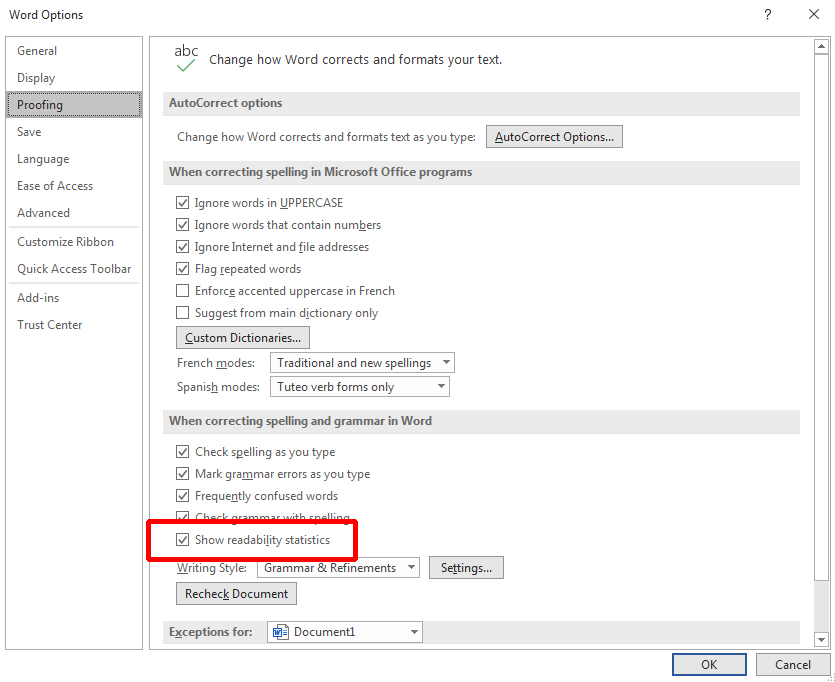MS Word - Word Options dialogue box