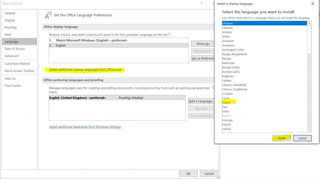 MS Word - Display languages
