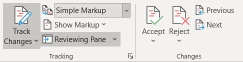 MS Word - Tracking Changes icons