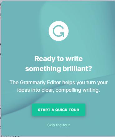 Grammarly - Start a quick tour feature