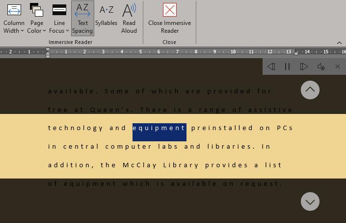 Screenshot of the Immersive Reader in Microsoft Word, on Windows.