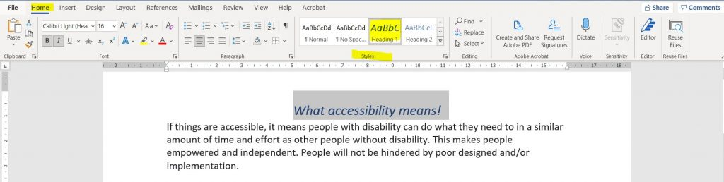 MS Word - Use Styles to structure text