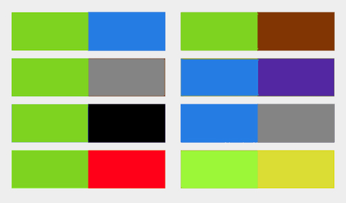 These are colour combos where people living with Protanopia have difficulty