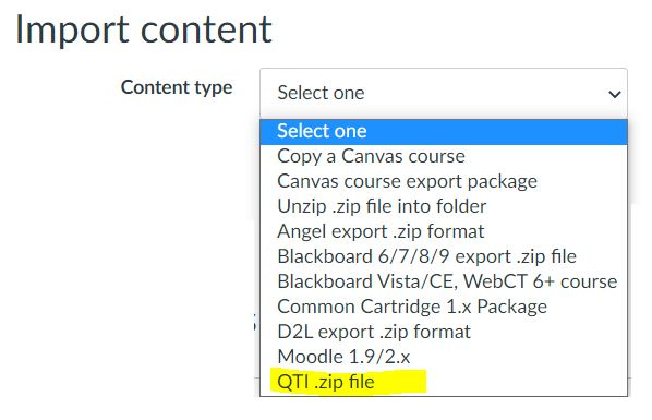 Canvas - Importing QTI.zip file
