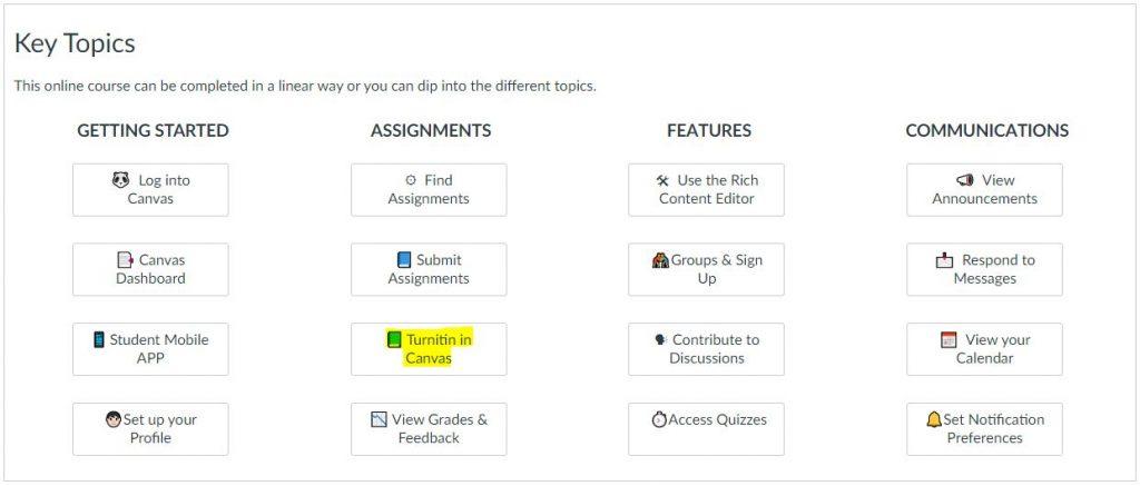 Canvas Student Orientation Course - dashboard