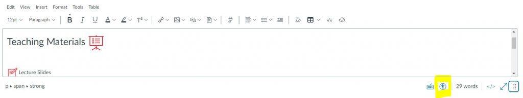 Canvas - Rich Content Editor and Accessibility Checker button