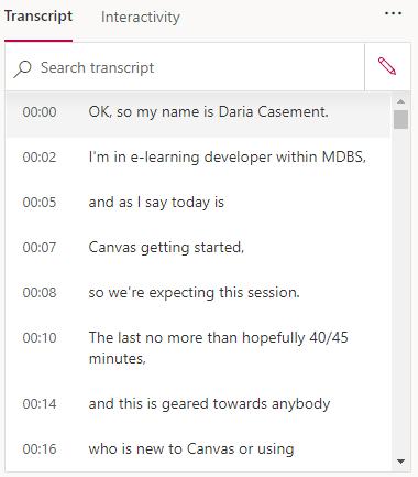 MS Stream - transcript and search transcript feature