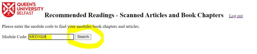Scanned Readings - input your module code and click Search