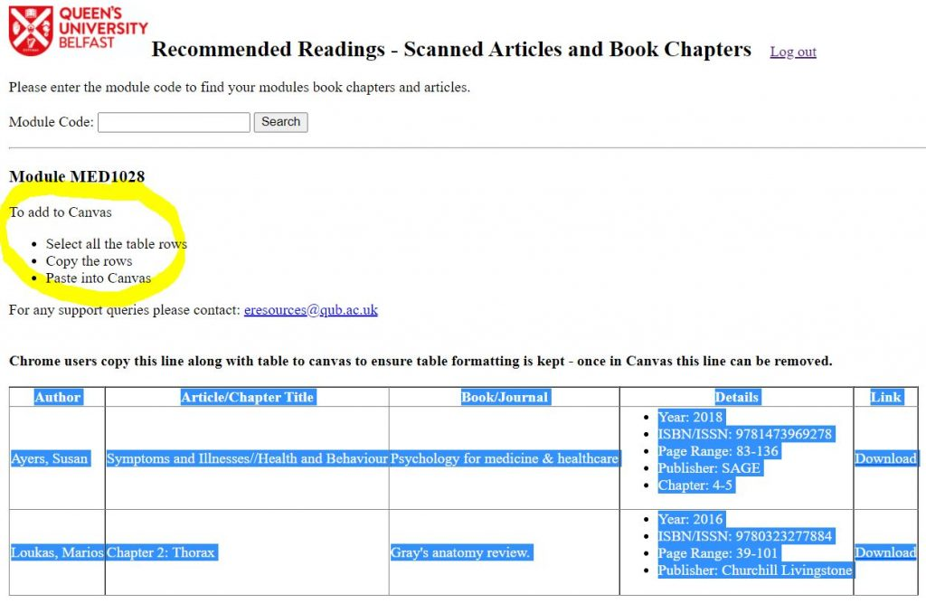 Scanned Readings - copying the scanned reading content for Canvas