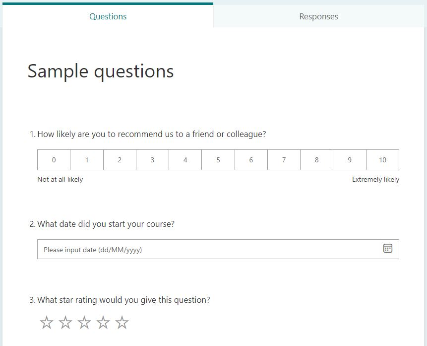 MS Forms - some question formats