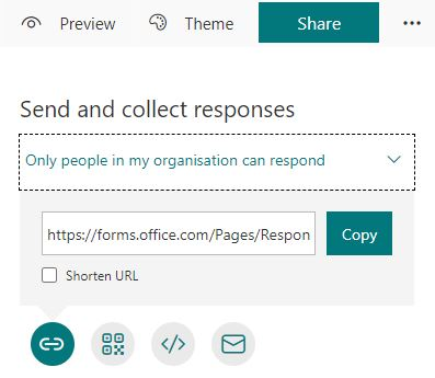 MS Forms - sharing a quiz / survey link