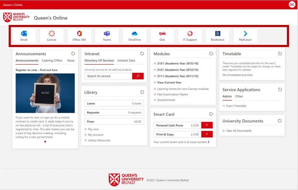 Queen's Online interface