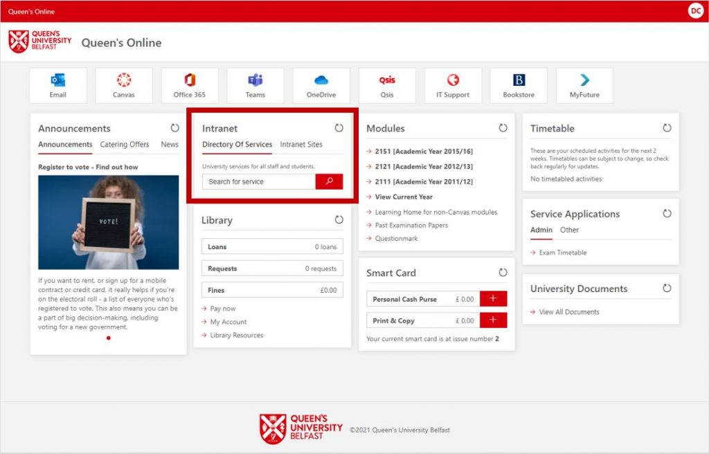 Queen's Online - Intranet / Directory of Services Section