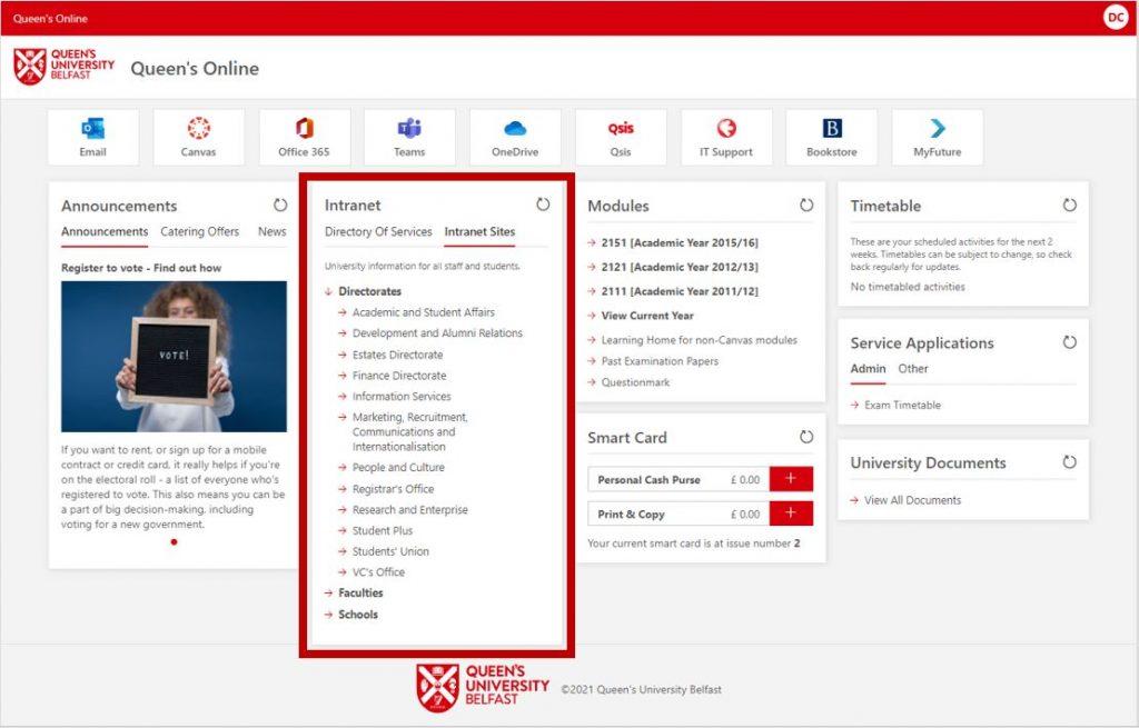 Queen's Online - Intranet Sites Section