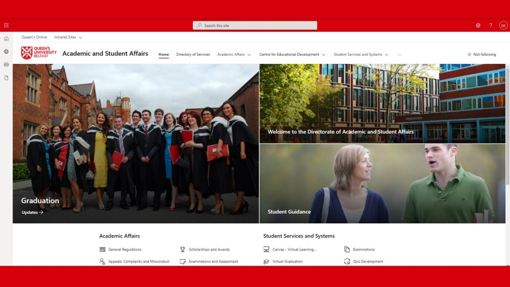 Queen's - Academic and Student Affairs Intranet page