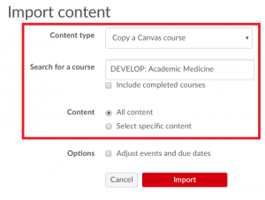 Screenshot highlighting import content selection and options in Canvas