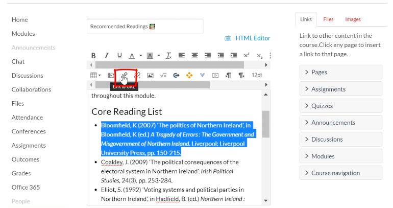 screenshot of url link in Recommended Readings page